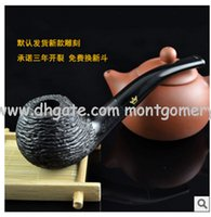 Cheap Free shipping Imported ebony pipe smoking non hand carved stone briar pipe fittings
