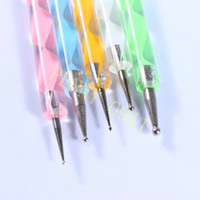 Wholesale 2 Ways Steel Dotting Marbleizing Pen Nail Art Decoration Tool wholesales X029