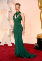 Wholesale 88th Oscar Awards Red Carpet Celebrity Dresses Scarlett Johans Wear V Neck Ruched Mermaid Fashion Green Prom Party Evening Gowns
