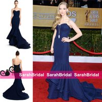 amanda seyfried gown - Amanda Seyfried Celebrity Red Carpet Fashion Runway Evening Dresses Zac Posen Tiered Dark Navy Blue Mermaid Wedding Occasion Gowns