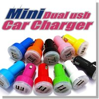 car charger - Round Design Mini Colorful Dual Port USB Car Charger Adapter for Apple iPhone S C S iPOD iPad air mini Touch Nano Samsung Galaxy