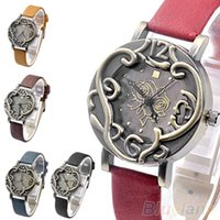 Wholesale Min Hot Sale New Vine Retro Women Bronze Rose Flower Cirrus Stylish Quartz Analog Watch for Men Clock L