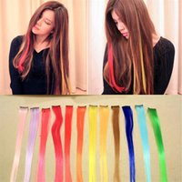 Wholesale Cosplay Colorful Clip In Hair Extension Wig Piece Straight Gradients Hair Piece Colored Wig Can Not be Curled DHL