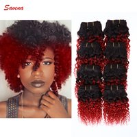 afro hair dye - 8pcs g pc Brazilian Afro Kinky Curly Hair A Grade Cheap Human Hair Ombre Color Curly Hair Brazilian Hair Weft