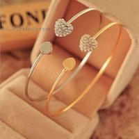 Wholesale New Charm Bracelets Women Fashion Style Gold Rhinestone Love Heart Bangle Cuff Bracelet Jewelry heart shaped Love bracelet Double hearts
