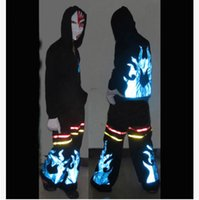 Wholesale Big Blue Flam Fluorescence Pants Shuffle Phat Pants equipped fluorescence ghost step dancing pants Ghost dance step fluorescent pants