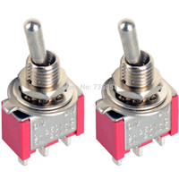 Wholesale 2Pcs Electronic Components Pin Mini Toggle Switch SPDT On Off On MTS Miniature Toggle Switch Switches VE064
