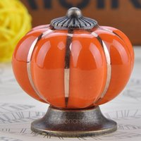 Wholesale 7 Colors Ceramic Door Cabinets Pumpkins Knobs Handles Pull Drawer Colorful Ceramics Ball Style Knobs FMHM375 S1