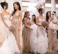 gold bridesmaid dresses - Bling Rose Gold Cheap V Neck Bridesmaid Dresses Sleeveless Sequins Backless Floor Length Long Beach Wedding Gowns Light Gold Champagne