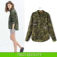 Cheap Fashion Women 2014 New Long Sleeve Camouflage Clothing Shirt Novelty Casual Slim Embroidery Coats Jackets Coat Blouses in Stock