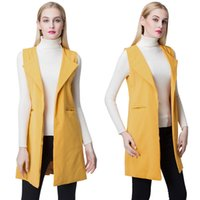 Wholesale New autumn Europe Women Waistcoat Open Front Slit Hem Side Pockets Notched Collar Sleeveless Vests Gilet Outwear Coats clothes Yellow G1486