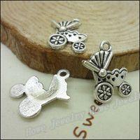 Celtic antique stroller - 80 Vintage Charms Stroller Pendant Antique silver Fit Bracelets Necklace DIY Metal Jewelry Making Charms