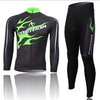 Al por mayor-caliente! Los hombres de bicicletas MERIDA Equipo Riding manga Trajes largos ciclo Jersey + (BIB) Pantalones Camisa caliente Medias Sets S-4XL