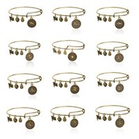ancient bangles - 12 Constellation Alex and Ani bracelets Ancient gold silver Horoscope Zodiac signs charm bracelets bangle cuff for women jewelry