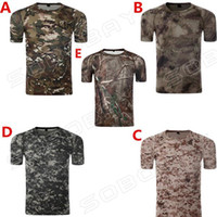Wholesale Hunting Camo Base Layer Men s Breathable Short sleeved T shirt Army Tactical Camouflage Combat T Shirt Quick Dry Sweatshirt