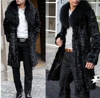 best mink coats - Fall Best selling Winter men faux fur coat Black fashion warm splice mink coat Soft and comfortable Fox fur collar long faux fur coat
