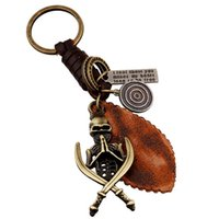 antique pirate ship - Pure Handicraft Full Grain Leather Punk Leather Alloy Skull Pirate Keychain for Men SKC00098