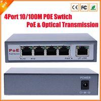 achat en gros de commutateurs réseau poe-CCTV 4-Port 10 / Switch PoE net 100M / Hub Power Over Ethernet PoEOptical Transmission Pour réseau Système de caméra IP Commutateurs