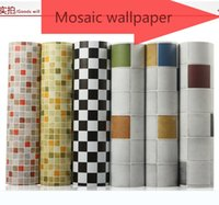 ceramic wall tile - New HOT sale self adhesive ceramic tile stickers wallpaper toilet waterproof bathroom Mosaic wall stickers kitchen oil stickers