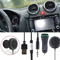Wholesale Wireless Bluetooth NFC Car Kit Hands Free Music Streaming Calling with mm audio jack Dual USB A car charger