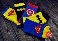 Wholesale 5 Design Cartoon Superhero Socks Batman Captain America Superman socks Adult socks cartoon mens socks Cartoon sports socks