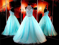 Wholesale 2015 Gorgeous Halter Prom Dresses Sheer Crystal Beading Sequins Tulle Ball Gown Backless Evening Party Formal Dress Plus Size Custom Made