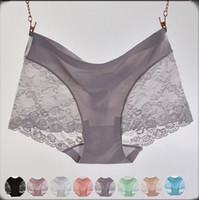 Cheap Wholesale-sexy lace women panties one piece seamless top quality brand ice silk briefs 2015 lady underwear women g string hipster clavin