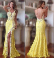 Wholesale 2015 Glamorous Red Carpet Prom Dresses Sexy Open Back Sheer Crew Neck Sleeveless Beaded Yellow Lace Split Mermaid Party Evening Gowns BO5827