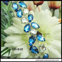 Wholesale free shipment blue with clear rhinestones cm garment decorative chain blue crystal decorative trimming