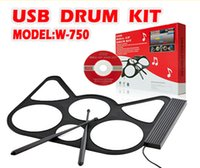 Wholesale Portable Foldable USB roll up Silicone Electronic Drum Include pads two toms and two cymbals Compatible Windows XP Vista