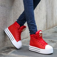 b ornament - Platform Women Casual Shoes Metal Skull Ornament Trendy Woman Sneakers Increased Within Fashion High Top Shoes For Womens Retail H1151