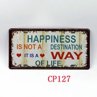 Wholesale CP127 Happiness is a way of life license plate Vintage Metal Tin Signs Bar Pub Cafe Home Art Metal Signs Size about cm