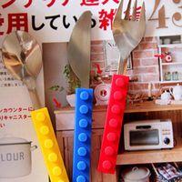 Wholesale Lego bricks stainless steel tableware Western tableware creative silicone plus selling trade