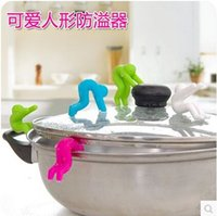 Wholesale Creative Little Man Raising Pot Cover Silicone Spill proof Anti overflowing Tools Cell Phone Holder Cooking Tools Cocina cozinha