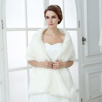 Wholesale In Stock Jackets Faux Fur Long Bridal Wraps Cheap Wedding Accessories White For Party Cloak Coats Shawl Formal Evening Tippet Cape