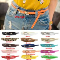 Wholesale Hot Sales Womens Lady Waist Belts Waistband Patent Leather Metal Buckle Narrow Thin Skinny Fashion Candy Color IX226