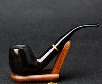 wooden smoking pipe - Gift Set Wooden Pipe cm Black Tobacco Pipe mm Filter Weed Pipe Metal Ring Smoking Pipe FT D