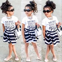 Wholesale 2016 Children Baby Girls letter T shirt Tops Striped Skirts Outfits Set Party Dress Y