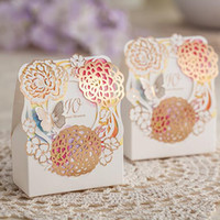 Wholesale Chocolate Favor Box Flower Wedding Candy Holder Romantic Wedding Decoration Candy Box Small Size Laser Cut Paper Favors