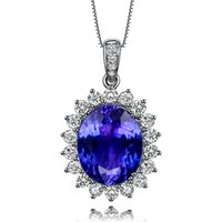 Wholesale GVBORI K White Gold Natural Blue topaz Jewelry Gemstone Women Gift Fine Jewelry Necklace Pendant elegent
