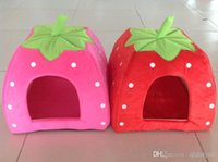 Wholesale HOT Soft Sponge Strawberry Pet Dog Cat Bed Houses Lovery Warm Doggy Kennel SIze Colors H465