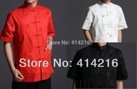 Wholesale colors summer male cotton short sleeve Shirts men man tradtional Tang suits kung fu top quality