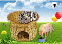 Wholesale Cat house willow pet house lovely and comfortable willow pet house basket wicker pet house basket from china