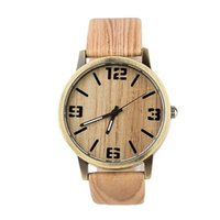 antique leathers - S5Q Men Waterproof Alloy Simulation Wood Quartz Analog Leathers Strap Wristwatch AAAEYW