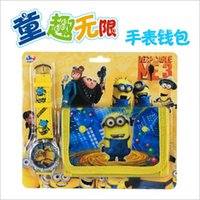 Wholesale 20 BBA4647 Minions quartz Watch Wallet set Despicable Me quartz Watch Wallet set Minions Watches Despicable Me Watches Kids Christmas gift