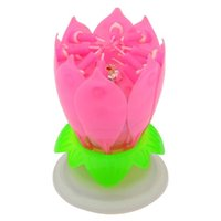 Wholesale Pink Blossom Lotus Music Candle for Birthday Party Event