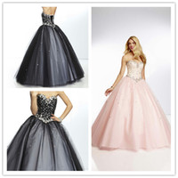 Wholesale Appliques Ball Gown Beaded Prom Dresses Boutique Fashion Tulle Shinning Evening Dress Sweep Train Beautiful Lace Up Back Formal Events Gowns