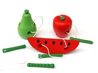 Wholesale HOT Design Teaching Aids Baby Toys Worms Eat Fruit Puzzle Wooden Education Toy Channeling Rope Toddler Toys