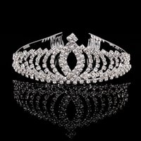 Wholesale Silver Queen Crown - 5PCS Trendy Crystal Rhinestone Queen Crown Tiara Sliver Plated Bridal Hair Combs For Women Wedding Accessories