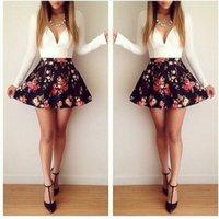 skater skirt - spring elegant deep v neck short skater dress celebrity floral skirt casual party club dress